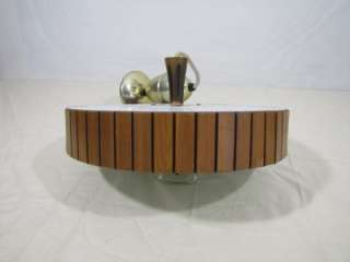 VTG MID CENTURY MODERN DANISH PULL DOWN TEAK WOOD LAMP LIGHT ATOMIC