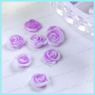 Acrylic Rubber Flower Big Rose Nail Art Wheel 12 Colors