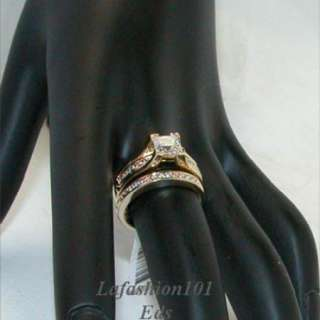 Gold Plated Princess Wedding/Engagement/Bridal RINGS SET SIZE 5,6,7,8