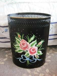 Black Hand Painted Pink Roses Toleware Tole Trash Waste Basket