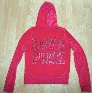 Hot Pink SEQUIN Velour Zip Up HOODIE Sweat Shirt Jacket XS
