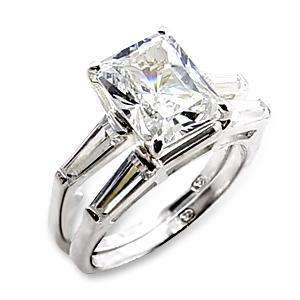CARAT EMERALD CUT WEDDING ENGAGEMENT RING SET Sz 5,6,7,8,9,10