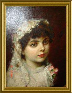 ANTIQUE HUGE Emile Dupont Zipcy PORTRAIT Oil Painting