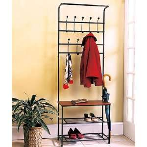 Metal Entryway Storage Bench with Coat Rack Everything