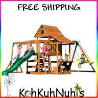 Outdoor Playset Wooden Swingset Slide, Monkey bars, Swing set, Ladder