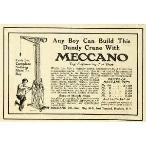 1917 Ad Meccano Construction Crane Engineering Building Erector