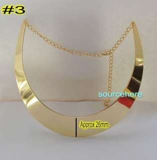 Womens Choker Gold Tone Pieces Collar Necklace Wedding Smooth Bib Ring