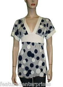 polka dots short sleeve v neck empire waist blouse tie back contrast