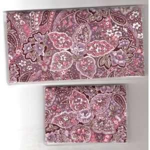 Checkbook Cover Debit Set Pretty Pink Paisley Flower
