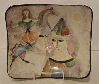 Polia Pillin Art Pottery Large Bowl with Women and Horse