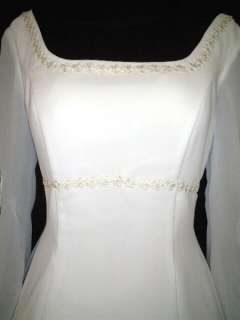 Long Sleeves Chiffon Wedding Dress Size 22 Ivory