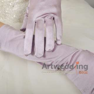 Satin Elbow Wedding Gloves (Ginger/Light Yellow/Sage/Lilac/Burgundy