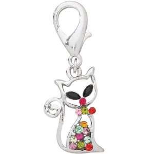 Silver Cat Crystal Jeweled Pet Collar Charm Kitchen