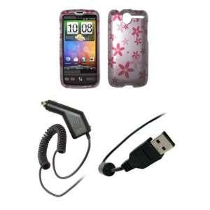 HTC Desire   Premium Pink Flowers on Silver Design Snap On