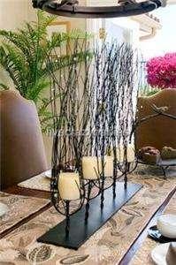 Designer Beaded Twig Branch Iron Candle Centerpiece Pillar Extra Large