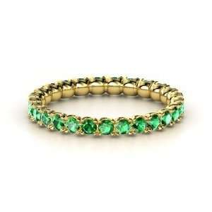 Brilliant Pod Band, 14K Yellow Gold Ring with Emerald