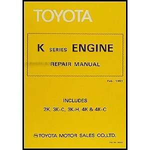 Toyota Starlet Engine Repair Shop Manual Original No. 36103: Toyota