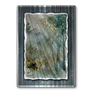 32x23 Pol Ledent water color trees forest metal wall art
