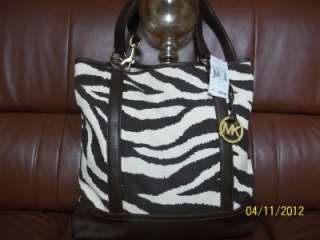 MICHAEL KORS JET SET ITEM SUMMER TOTE TIGER MOCHA CANVAS BAG LARGE