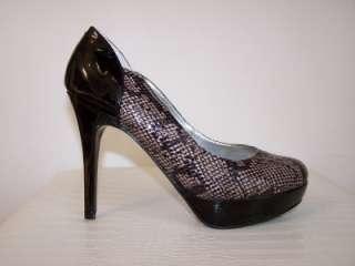 Reptile SANDREA Multi Natural Black Patent Platform Pumps Shoes