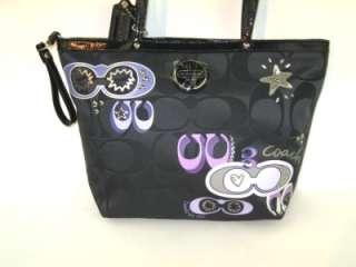 Signature Applique Sequin Tote Bag 17587 & Passport Case 61015 Black