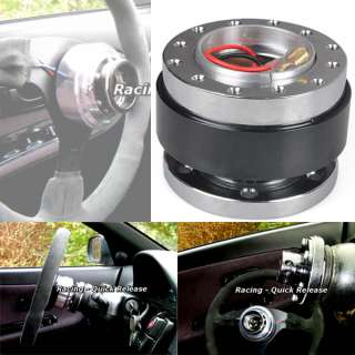 Black 12 HOLE HUB Steering Wheel Quick Release Snap Off Boss Kit