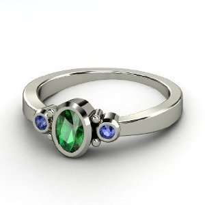 Kira Ring, Oval Emerald 14K White Gold Ring with Sapphire