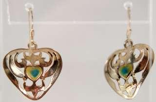 VTG Sterling Silver Turquoise Heart Fishhook Earrings Southwest