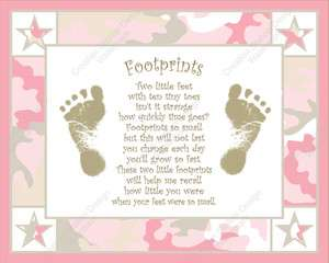 Pink and Khaki Camo Babys Footprint with Poem