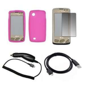 Premium Hot Pink Soft Silicone Gel Skin Cover Case + LCD