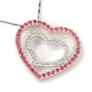 White / Rose Gold Sapphire & Diamond Heart Pendant w/ Chain Jewelry