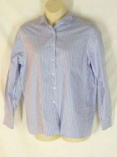 Foxcroft Wrinkle Free Blue Red Striped Shirt Blouse 16
