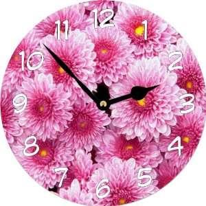 Rikki KnightTM Pink Flowers Art Large 11.4 Wall Clock