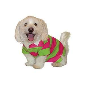 Spring Striped Rugby Dog Shirt (Hot Pink and Lime, Medium