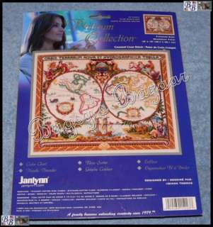 Janlynn OLDE WORLD MAP Counted Cross Stitch Picture Kit