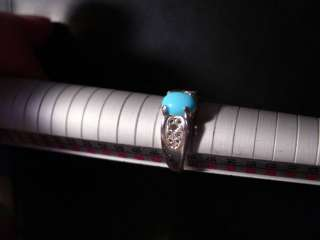 Natural 8x6mm Sleeping Beauty Turquoise Filigree Sterling Silver Ring