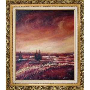 Modern Brown Village Landscape Oil painting, with Ornate