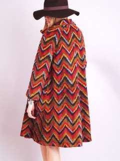 Vtg RAINBOW TAPESTRY Zig Zag Draped Hippie Gypsy Cape Dress Jacket