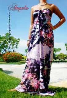 NEW Pink Floral Halter Neck Women Evening Long Maxi Dress Size M L 6 8
