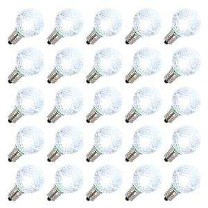 G30 Candelabra Screw Base Cool White LED Faceted 25 Pack Christmas