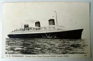 NORMANDIE FRENCH LINE SHIP RPPC POSTCARD BOAT