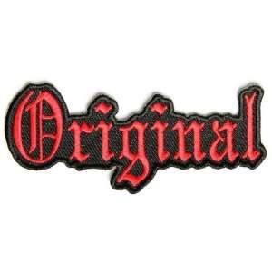 Original patch  Red Old English letters, 3.5x1.5 in