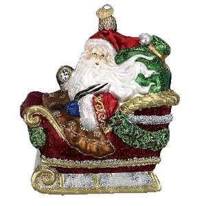 Old World Christmas Santa in Sleigh Glass Ornament