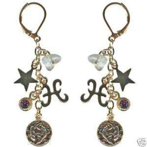 Kirks Folly Crystal Star Gazer Earrings Pisces Zodiac