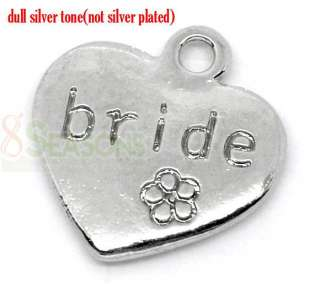 20 Silver Tone Bride Heart Wedding Charms Pendants