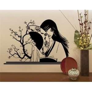 Best Quality Vinyl Wall Sticker Decals   Geisha with Fan