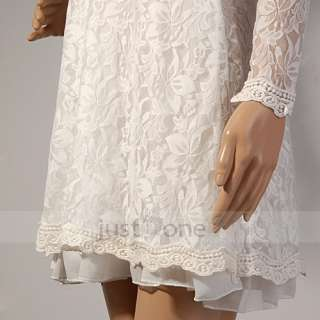 Elegant White Sweet Lady Girl Chic Lace flower crochet ruffled loose