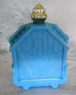 Vintage Avon Decanter Bottle   Blue Glass Bird House