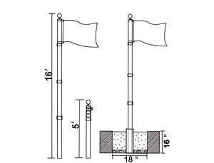 Aluminum Flagpole Eagle +Gold Ball Top Finial American Flag New