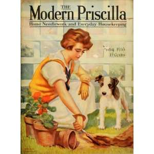 1918 Cover Modern Priscilla Woman Gardening Planting Jack